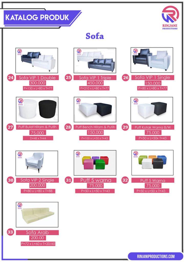 price list sewa sofa di rinjani productions