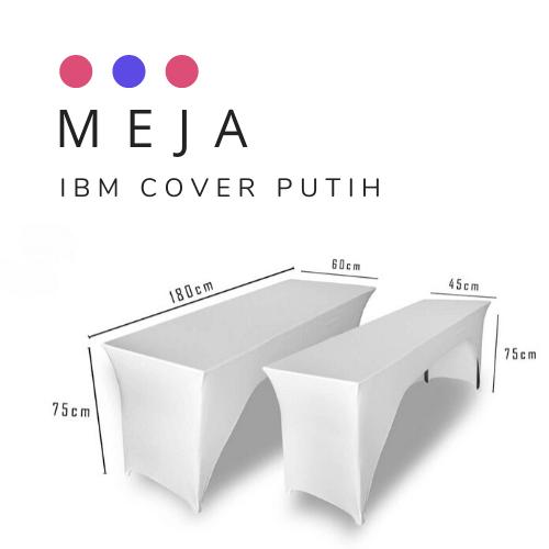 meja ibm cover putih